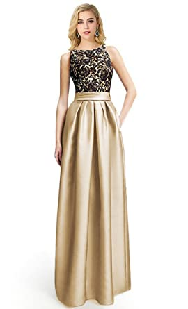 541266a0795 Sexy Lady Crewneck Lace Long Formal Prom Bridesmaid Dress with Pocket (Khaki