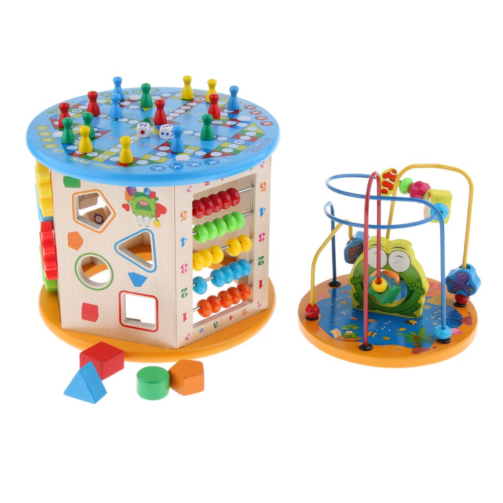 Baoblaze Large Dimensione 8 in 1 attività in Legno Cube Bead Maze Multi-Purpose Educational
