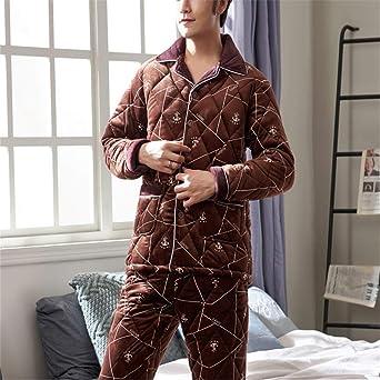 Lonimor Men Pajamas Cotton Spring Autumn Winter Lapel Cardigan Plaid Home Service Set