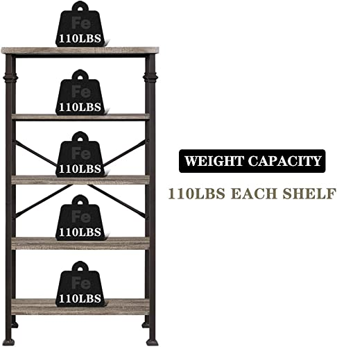 Hombazaar 5-Tier Modern Industrial Bookshelf with Sturdy Metal Frame, Large Book Shelves for Home and Office Organizer, 62.4 Height