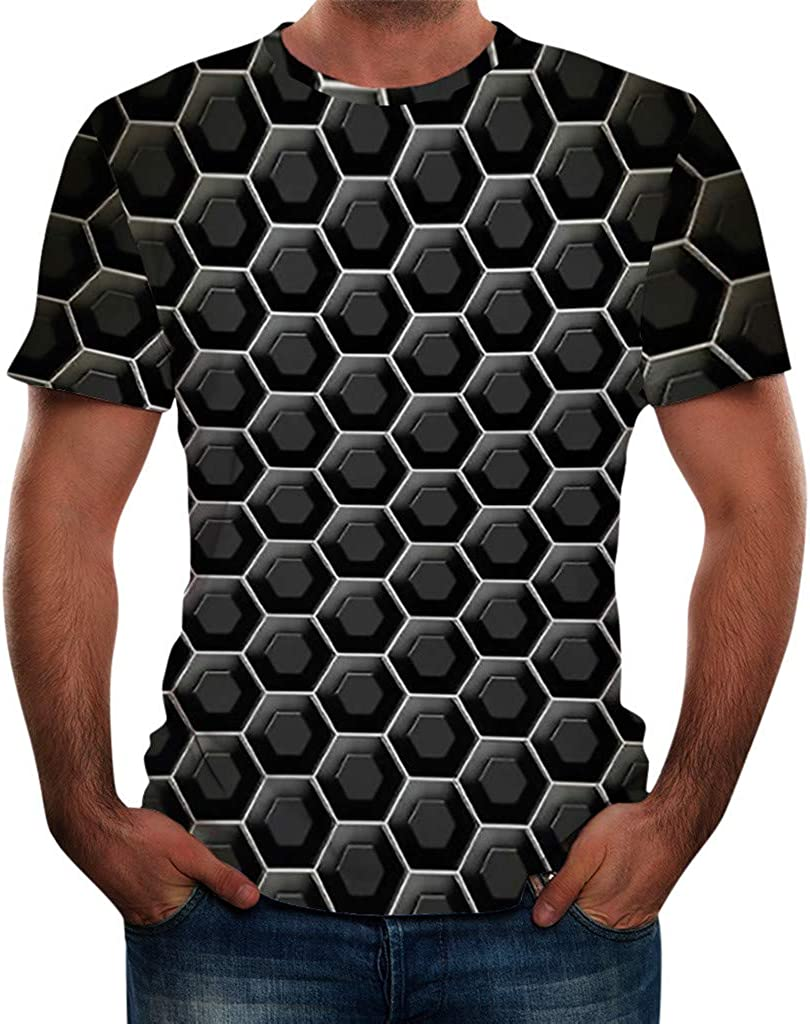 Men Tshirts Graphic Short Sleeve Crew Neck 3D Printed Casual Slim Fit Fashion Comfort Blouse Top