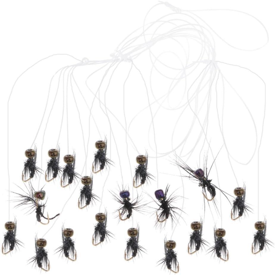 Nymphe Baoblaze 20pcs Mouches de P/êche Mouches Leurres Flottantes Noy/ées Insectes Simulation