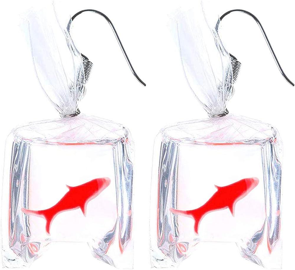 BIG koi goldfish earrings handpainted ceramic fish runway earings