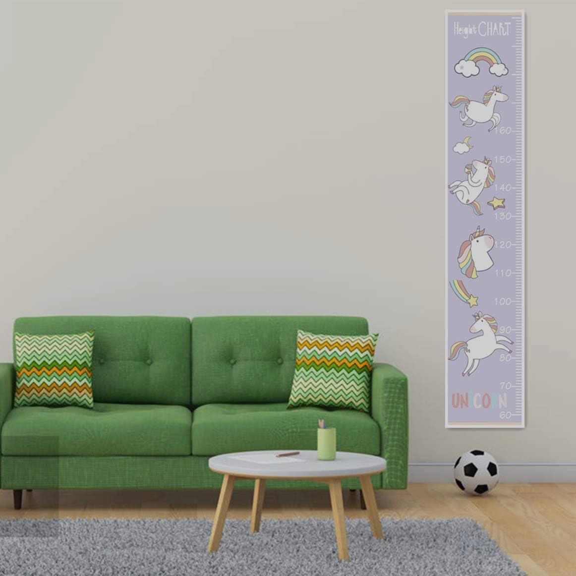 30 cm de largeurx 142 cm de hauteur Tableau de Croissance Toile Amovible D/écoration Murale pour Chambre denfant,Version Elargie ,Licorne Violette Toise Murale Enfant