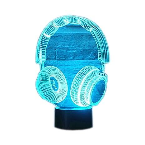 3D lámpara LED luz de la noche Auriculares inalambricos color táctil lámpara de mesa lámpara de