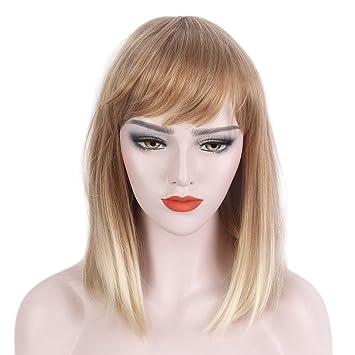 Amazoncom Stfantasy Blunt Bob Wig Bangs Ombre Blonde Mid Length