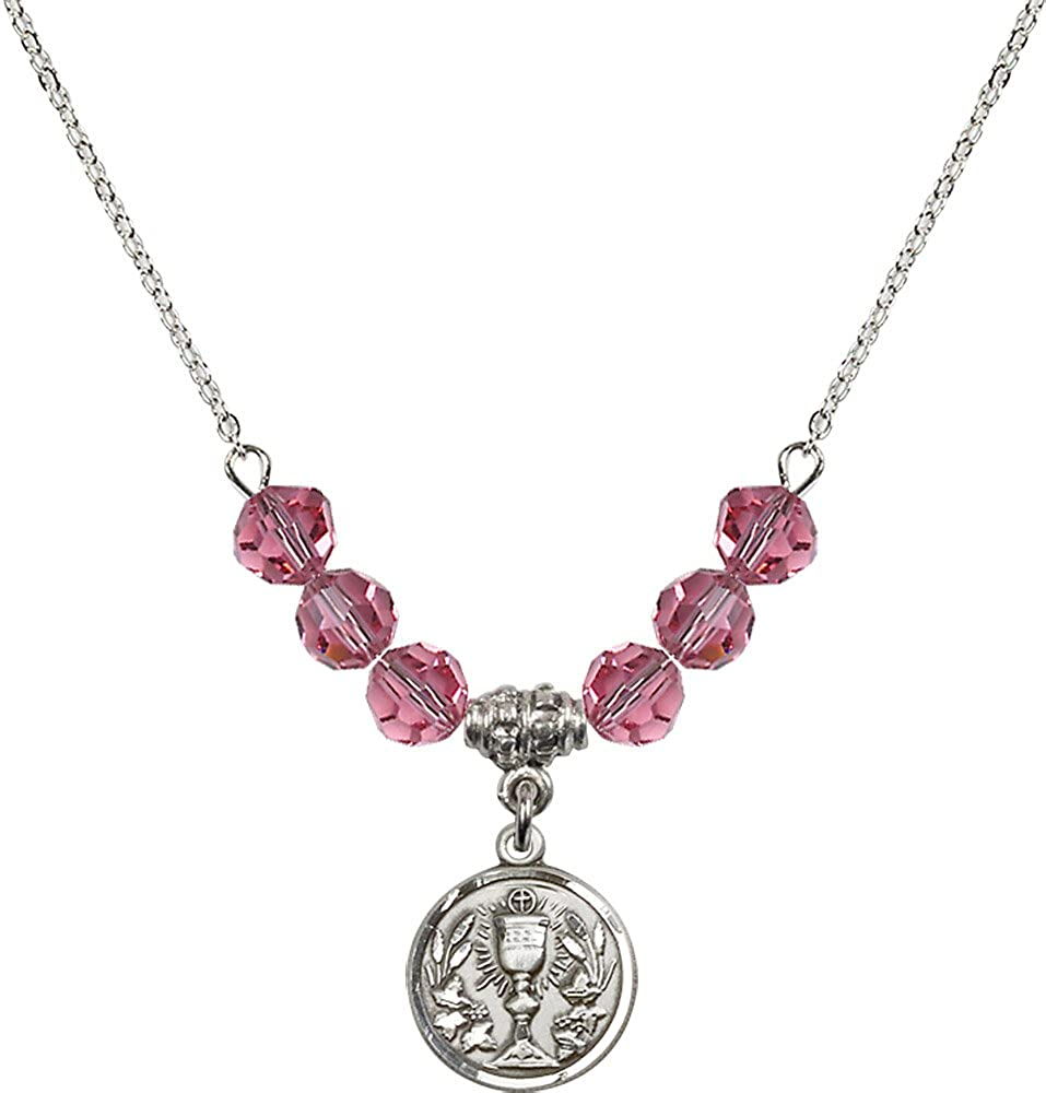 18-Inch Rhodium Plated Necklace with 6mm Rose Birthstone Beads and Sterling Silver Communion Chalice Charm.