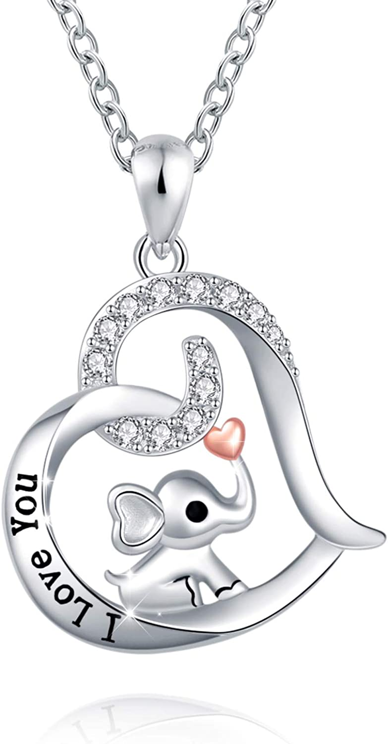 FREECO 925 Sterling Silver Cute Necklace - Luck Elephant Pendant Animal Jewelry Women Girls Ladies