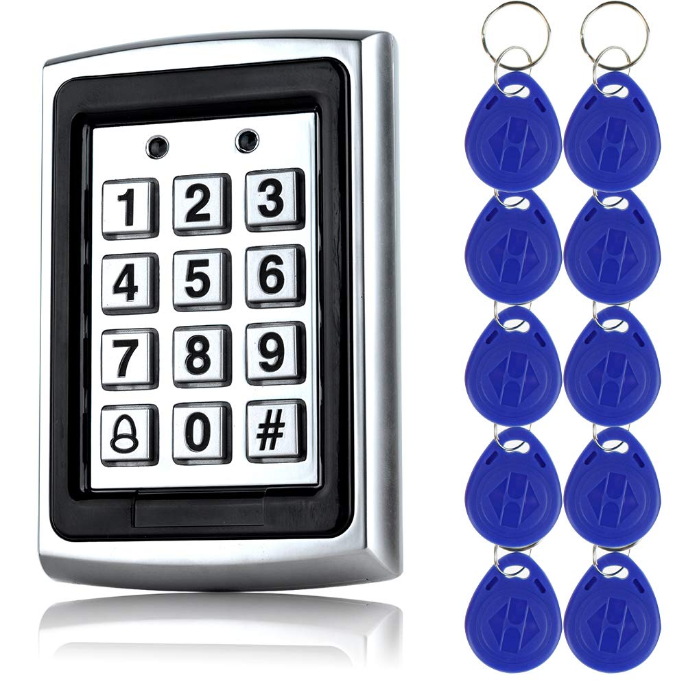 10pcs keyfobs +125Khz EM-ID Metal Case RFID Access Control Keypad With Back Light Support 1000 User OBO HANDS k7612+10