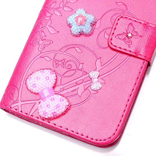Meet de pour Apple iphone 6 / iphone 6S Folio Case ,Wallet flip étui en cuir / Pouch / Case / Holster / Wallet / Case, (série gaufré) Amour Bow forage autocollants décorés pour Apple iphone 6 / iphone