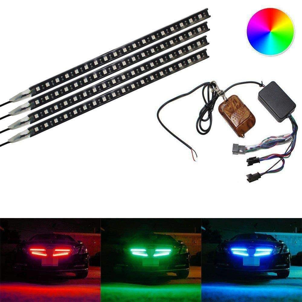 iJDMTOY (4) Strip 12-Inch 7-Color RGB 72-LED Knight Night Rider Scanner Lighting Bars w/Remote Control For Car SUV Truck, etc by iJDMTOY