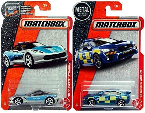 (Matchbox Police Collection '15 Corvette Stingray Polizei & '15 Suburu WRX STI 2017 Rescue Series in Protective Cases)