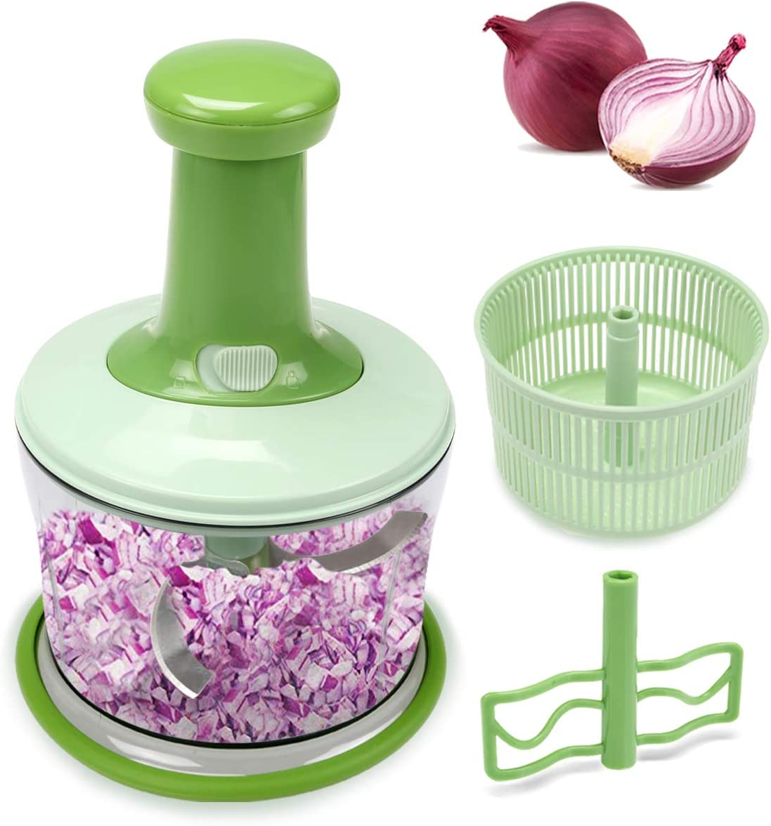 FAVIA 4 Cup Onion Food Chopper for Salsa Pesto Coleslaw Puree, Egg Mixer & Mini Salad Spinner Set - Handheld Mincer to Chop Nuts Vegetables Fruits Herbs Seasonings - BPA Free Dishwasher Safe