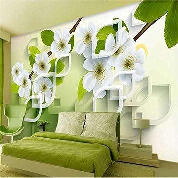 Gran mural personalizado verde 3D jazmín papel tapiz sala de estar TV fondo pared jardín fresco póster decoración de la pared mural papel tapiz(W)144cmx(H)100cm: Amazon.es: Bricolaje y herramientas