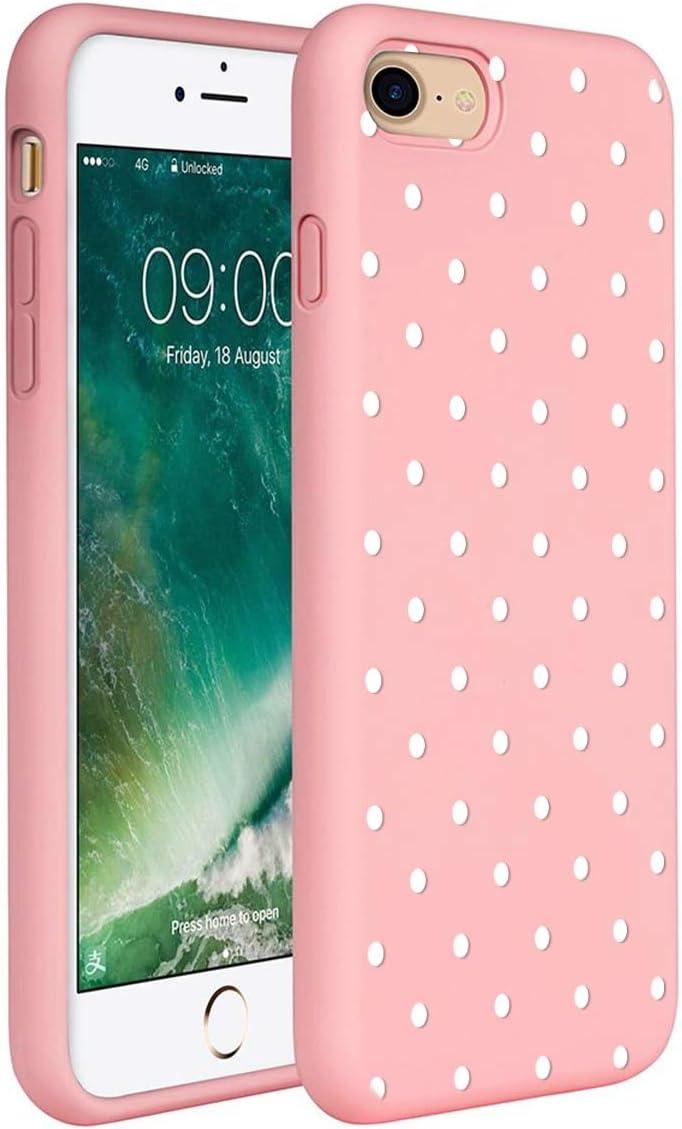 ZhuoFan Funda iPhone 7/8 / 9 / SE (2020), Cárcasa Silicona Rosa con Dibujos Diseño Suave Gel TPU Antigolpes de Protector Piel Case Cover Bumper Fundas para Movil Apple Phone 7, Lunares Blanca