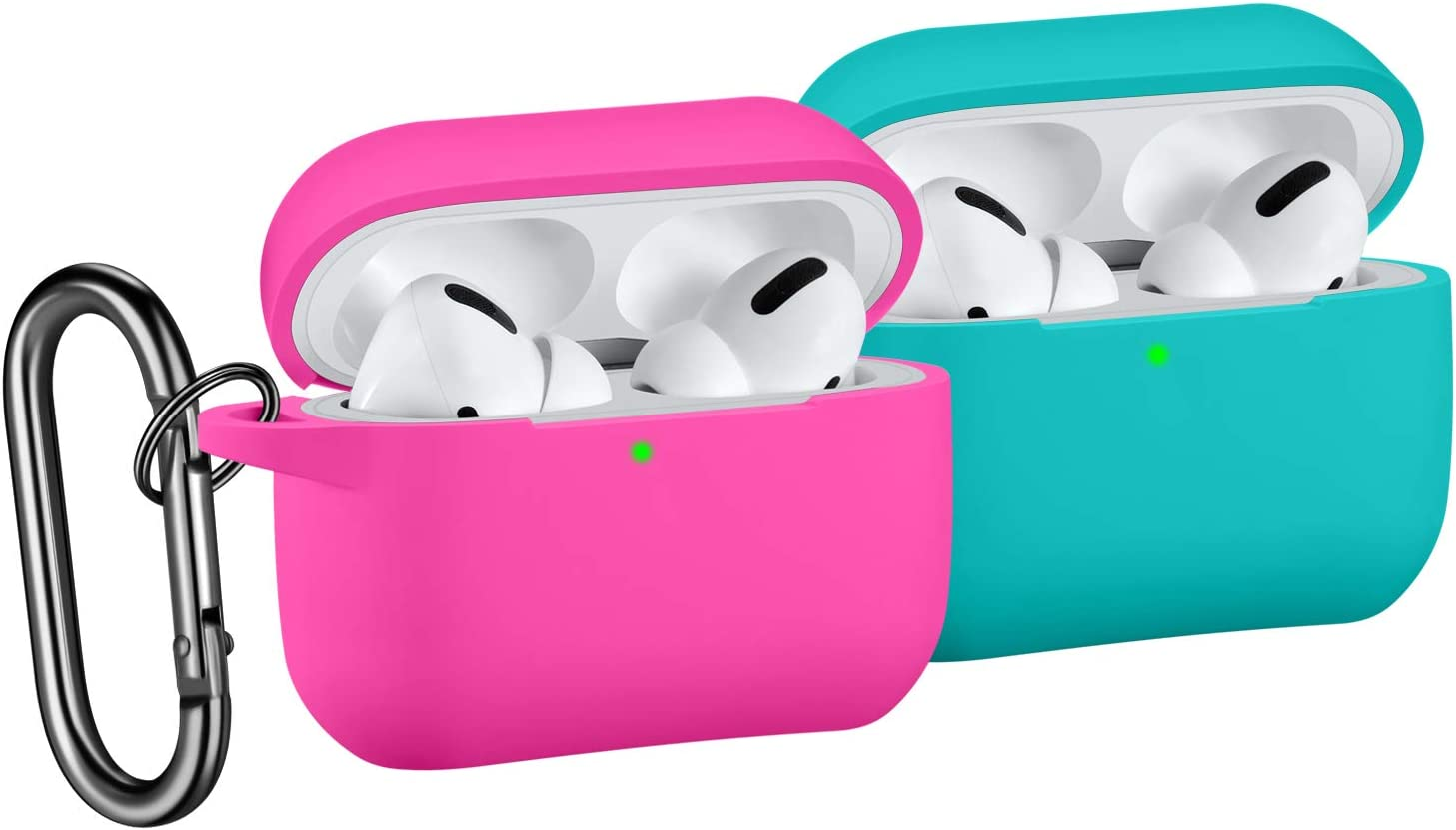 [2 Pack] SNBLK Designed for Airpods Pro Case Cover Silicone Protective Charging Case Skin with Keychain Compatible for Apple Airpods Pro 2019, (Front LED Visible) Rose Pink/Teal