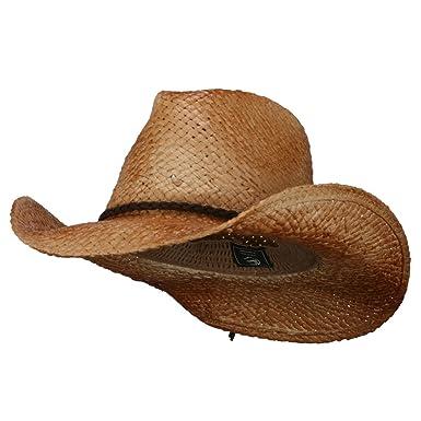 Customizable Raffia Straw Cowboy Hat - Natural OSFM at Amazon Men s ... d7bec9e2ba3