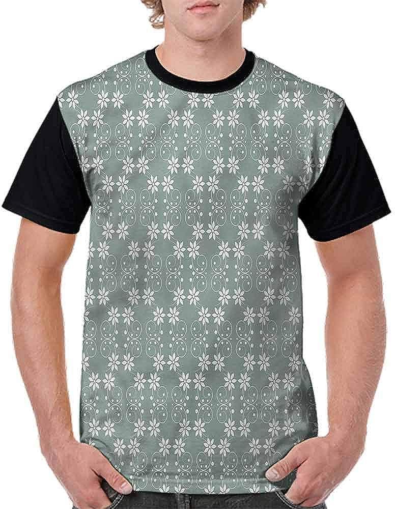 BlountDecor Round Neck T-Shirt,Rustic Flowers Pattern Fashion Personality Customization