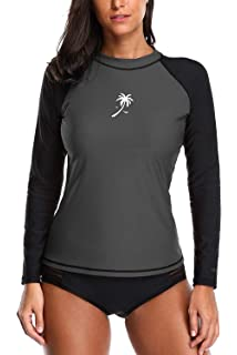 2048ee1660c ATTRACO Womens Long Sleeve Rash Vest Swim Shirts Rashguards Tops Surf  Swimsuit