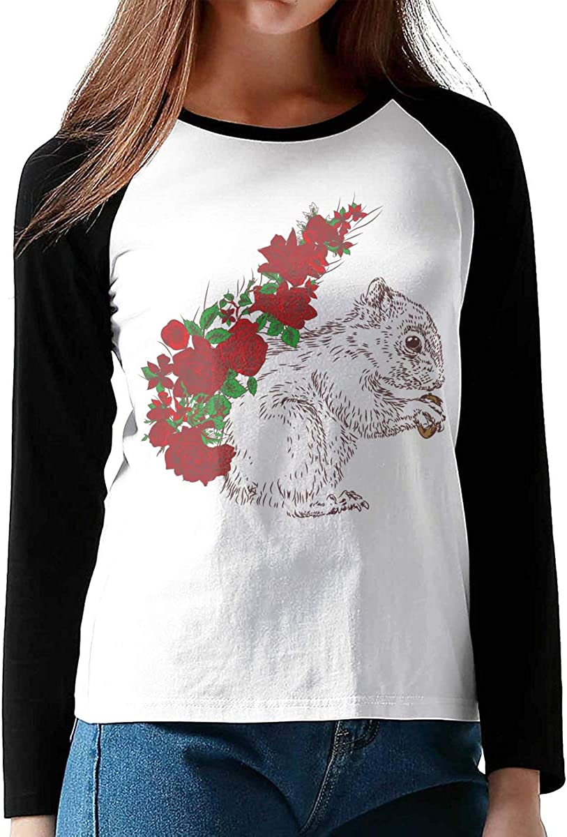 Girls Raglan/Sleeves Jersey Tee Shirt Black MiiyarHome Womens Long Sleeve Baseball T-Shirts Squirrel Trap