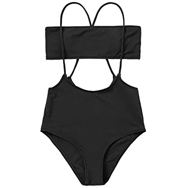 d0d69d0cf4b ZAFUL Women's Two Piece Ribbed Bandeau Top and High Waisted Slip Bikini  Bottoms (Black,