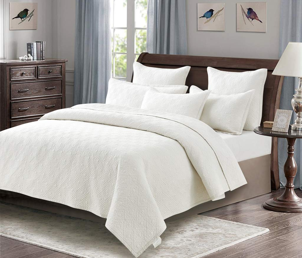 Calla Angel Evelyn Stitch Diamond Luxury Pure Cotton Quilt, Ivory, King by Calla Angel (Image #2)