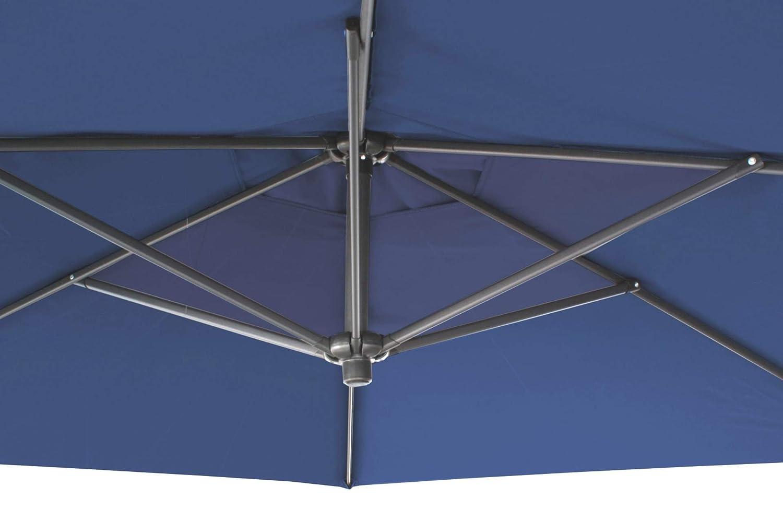 Amazon.de: GDWorld Ampelschirm blau 3 m mit Kurbel Sonnenschirm Fuss ...