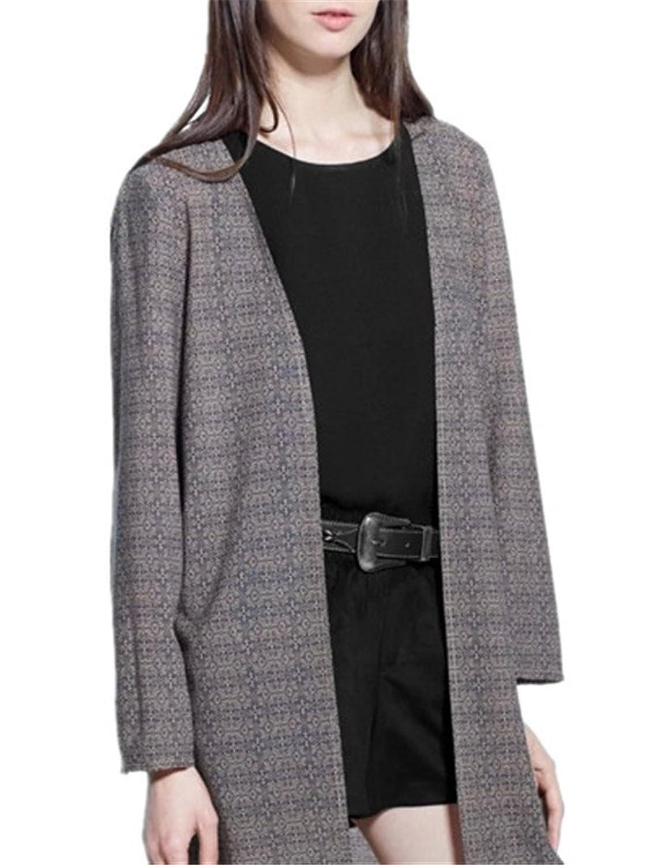 Allbebe Women's Casual Open Front Wheat Tassel Slim Long Cardigan Coat