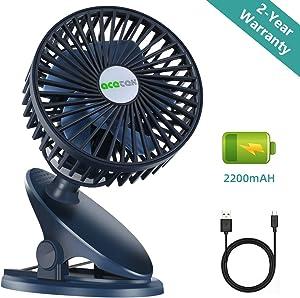 acetek Clip on Fan, Battery Operated Stroller Fan for Baby, Rechargeable Portable Table Fan,360°Rotation, 2200mAh, Super Quiet USB Mini Desk Fan for Sports, Car Seat,Travel