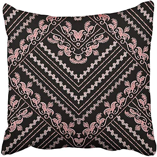 Maozond8 Throw Pillow Cover Polyester 18x18 Inch Decorative Embroidery Floral Gold Black Vintage Embroidered Pink Flowers Swirl Leaves Zigzag Deco Cushion Pillowcase Print Sofa Home