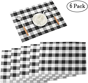 """Nobildonna 18""""x13"""" Plaid Checkered Placemats,Black & White Checker, Quality Durable Placemats for Holidays,Christmas, Spring,Summer - and for Everyday Use - Set of 6"""
