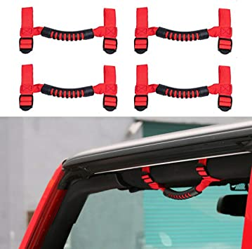 JeCar 4 x Heavy Duty Roll Bar Grab Handles for Jeep Wrangler 1955-2018 JK JL CJ YJ TJ Unlimited Red