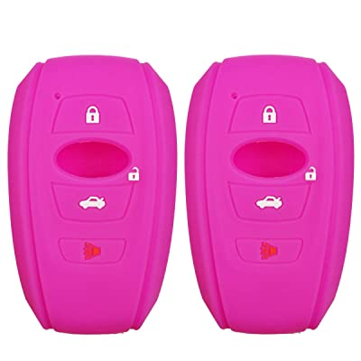 2Pcs Coolbestda Rubber 4buttons Key Fob Protector Case Cover Keyless Entry Holder Skin for 2016 2020 Subaru Forester Sti 2020 Outback 2015 2016 XV Crosstrek Impreza 2014-2020 BRZ 2016 WRX Rose: Car Electronics