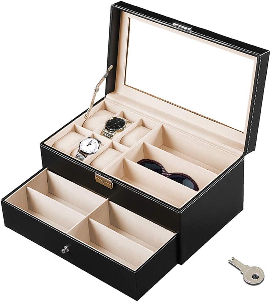 Jolitac 12 Grids PU Leather Glasses Storage Case Watch Organizer 2-Tier Eyewear Sunglasses Display Drawer Holder Transparent Lid with Lock Lockable Jewelry Box Collection Organizer for Women Men