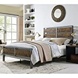 WE Furniture Queen Size Metal & Wood Plank Bed, Brown For Sale