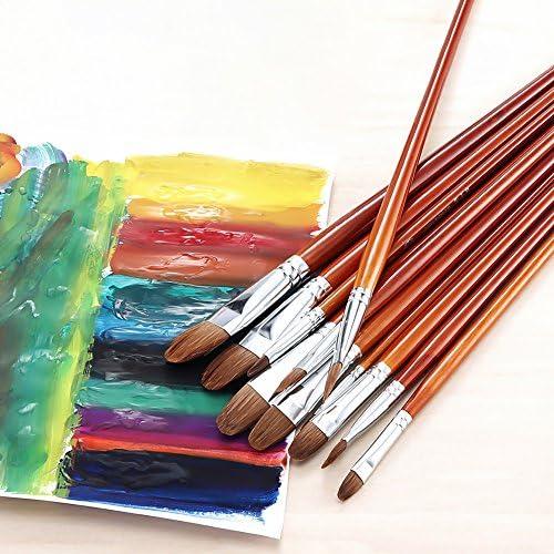 Zhi Jin 12Pcs 画材筆 専門家 美術学生用品 水彩筆 油絵筆 中学生 小学生 人気 プレゼント絵具