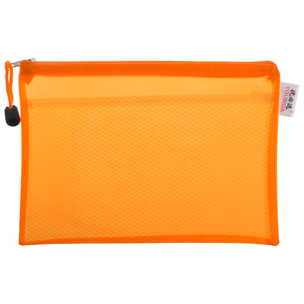 Ladaidra Dull Polish Waterproof A5 PP Grid Document Bag File Pocket Storage Case with Zipper Supply for School Office Home (Orange)
