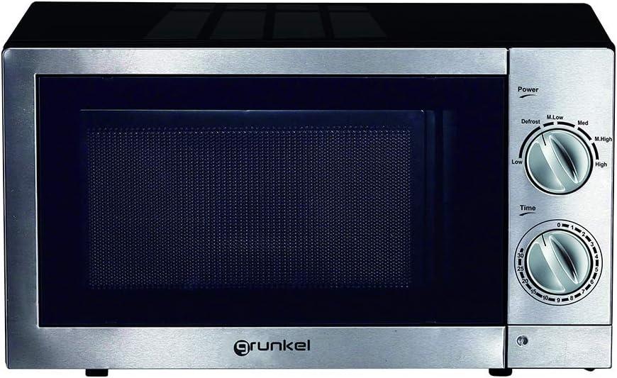 Grunkel - Microondas de 20 litros de capacidad en acero inoxidable y 700W. 6 niveles de potencia, función descongelación y temporizador hasta 30 minutos. Modelo MW-20IXT