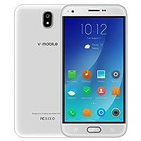 """Débloqué Smartphones Pas Cher 4g, J5 Dual SIM Telephone Portable debloqué - Smartphone Android 7.0-5.5"""" HD IPS Ecran - Quad Core - 16Go + 8Go ROM - 5MP Camera - Téléphones 4G débloqués (Blanc)"""
