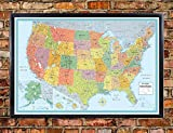 united states cork map - 32x50 Rand McNally United States USA Signature Push-Pin Travel Wall Map Foam Board Mounted or Framed (Black Framed)