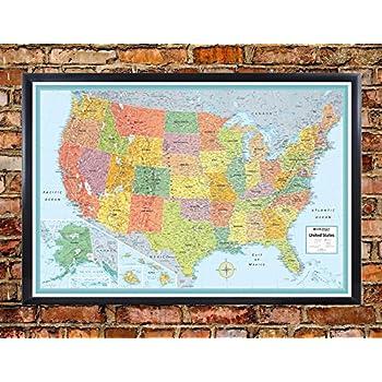 Amazoncom X Rand McNally United States USA Classic PushPin - Us map framed
