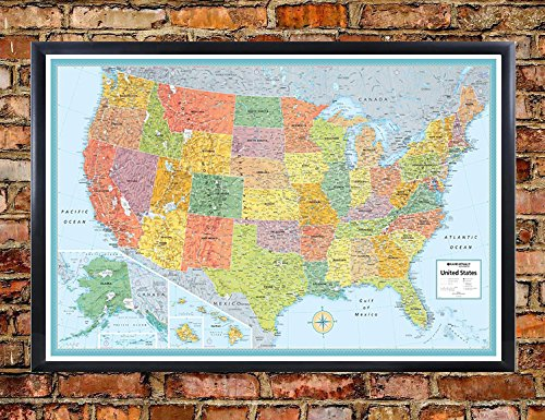 32x50 Rand McNally United States USA Signature Push-Pin Travel Wall Map Foam Board Mounted or Framed (Black Framed) (Usa Map Foam)