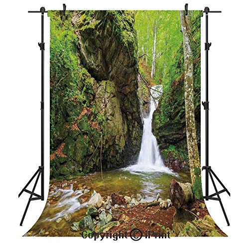 Waterfall Decor Photography Backdrops,Waterfall in Spring Like Winter in Bulgaria with Trees and Bushes,Birthday Party Seamless Photo Studio Booth Background Banner 5x7ft,Green and White ()