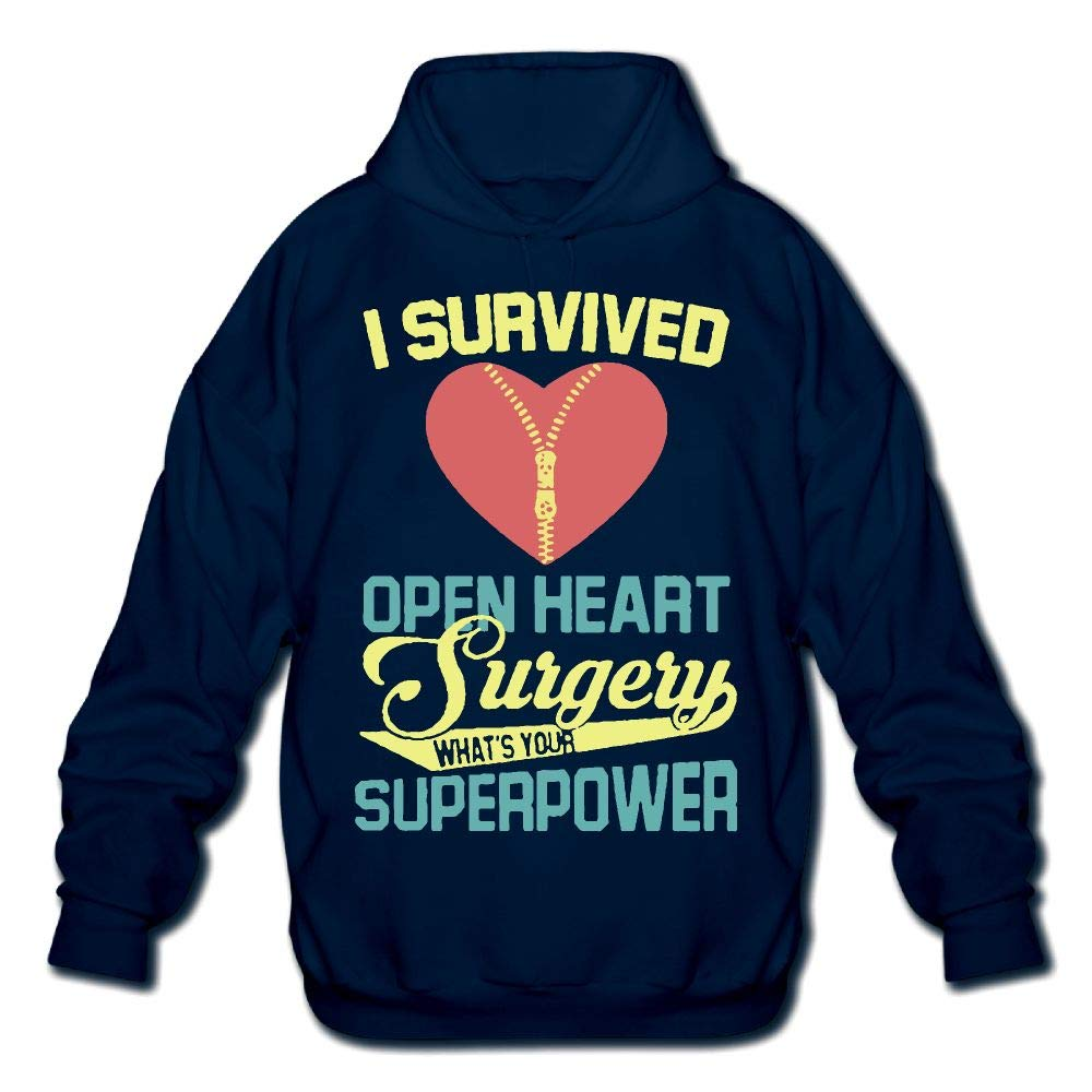 OPQRSTQ-O I Survived Open Heart Surgery Mens Funny Hooded Sweatshirt Hoodie