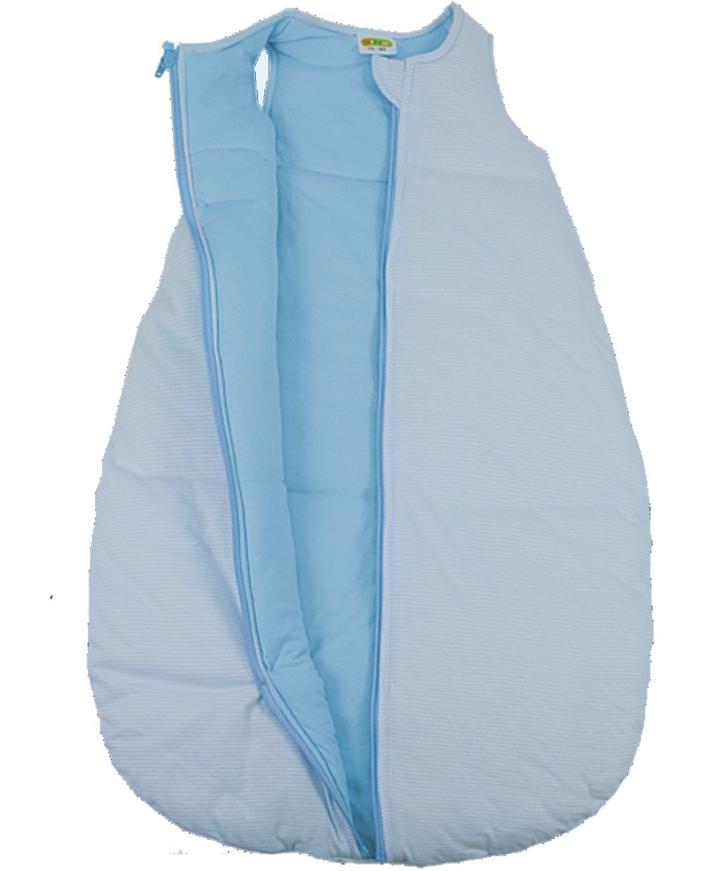 Baby + Kleinkind Schlafsack Ringelstreifen hellblau, wattiert + warm gefüttert für kühlere Tage, 4-Jahreszeiten-Baumwolle Größe 74/80 DIMO-TEX ®
