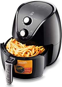 3.5L Air Fryer, Timer and Temperature Controls, 1500-Watts with Recipes, Personal Compact Space Saving Electric Hot Air Fryer Oil-Less Healthy Cooker