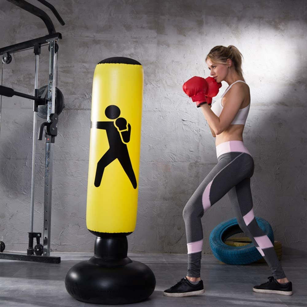 Heavy Punching Bag Kick Training Inflatable Tower Bag Freestanding Tumbler Column Sandbag Children Fitness Sport Play Adults De-Stress Boxing Target Bag 160CM QEPOL Fitness Punching Bag