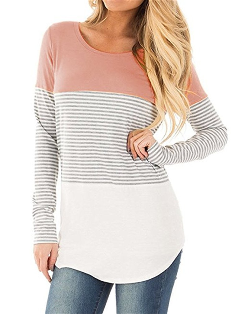 Andaa Womens Fall Striped Tee Shirts Long Sleeve Crew Neck Cotton Knitted Tunics Tops