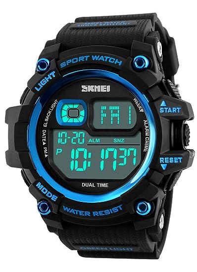 Reloj Digital para Hombre, Esfera Grande, cronógrafo multifunción, 50 m, Resistente al Agua, Resistente a los Golpes, Relojes de Pulsera: Amazon.es: Relojes