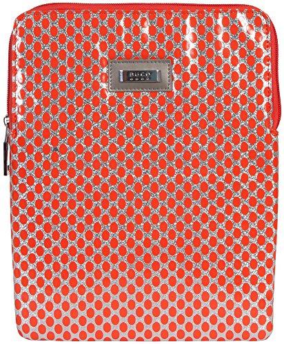 buco-handbags-isabella-ipad-case-orange-silver-polka-dot